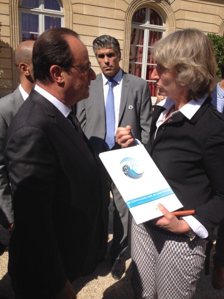 Catherine Chabaud et Francois Hollande à l'Elysée pour le lancement de la COP21